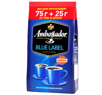 Ambassador Blue Label молотый 75г+25г